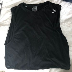 Gymshark Black muscle cropped tank size small